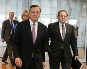 Mario Draghi and vice-president Vitor Constancio arriving at today's press conference.