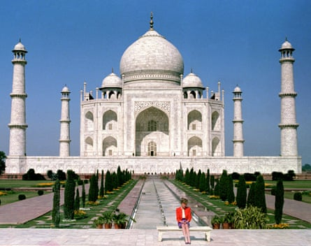 Princess Diana in front of the Taj Mahal, in a photograph taken in February 1992.