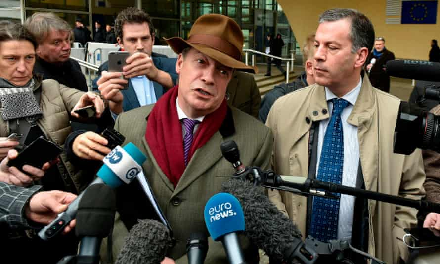 Nigel Farage speaks to journalists after a meeting with Barnier in Brussels.