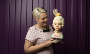 Tenny Russo from Darwin proudly shows her workshop creation (baroque bust)