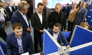 President Putin visits United Russia's campaign headquarters in Moscow during the recent parliamentary election.