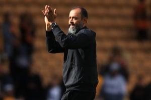 Nuno Espirito Santo celebrates his teams 1-0 victory.