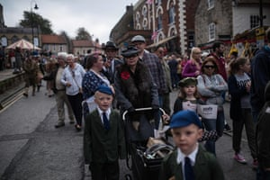 World War II reenactors attend the 25th 'Railway in Wartime Event' along the line of the heritage 'North Yorkshire Moors Railway' in Pickering