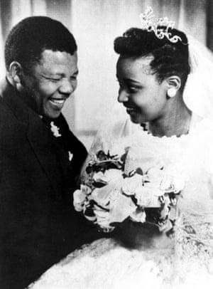 Winnie Mandela on her wedding day with Nelson Mandela