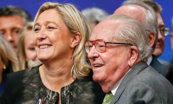 Marine and Jean-Marie Le Pen, Marion's aunt and grandfather respectively.