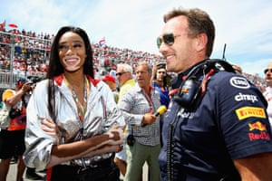 Winnie Harlow chats to Red Bull chief, Christian Horner, before the Canadian Grand Prix but afterwards said she was glad no one got hurt because of her actions.