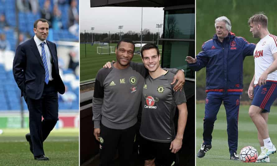 Left to right: Brighton's Tony Bloom; Chelsea's César Azpilicueta with technical director Michael Emenalo; Luke Shaw with Manchester United's chief scout Marcel Bout