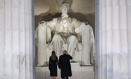 Donald and Melania Trump greet the 16th president as the 45th is inaugurated.
