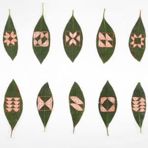 Embroidered leaves created by artist Hillary Waters Fayle.