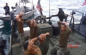 The captured sailors. Two American boats were 2km inside Iranian waters when they were detained close to Farsi island