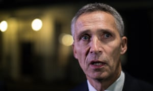 Jens Stoltenberg speaks outside 10 Downing Street after meeting Theresa May.