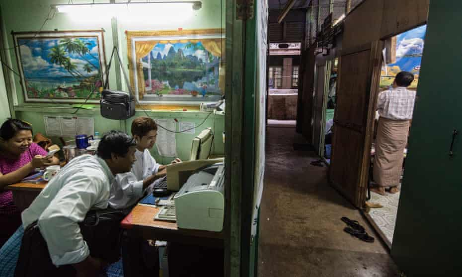 Lawyers cubicles inside the Balthazar Building, Yangon.