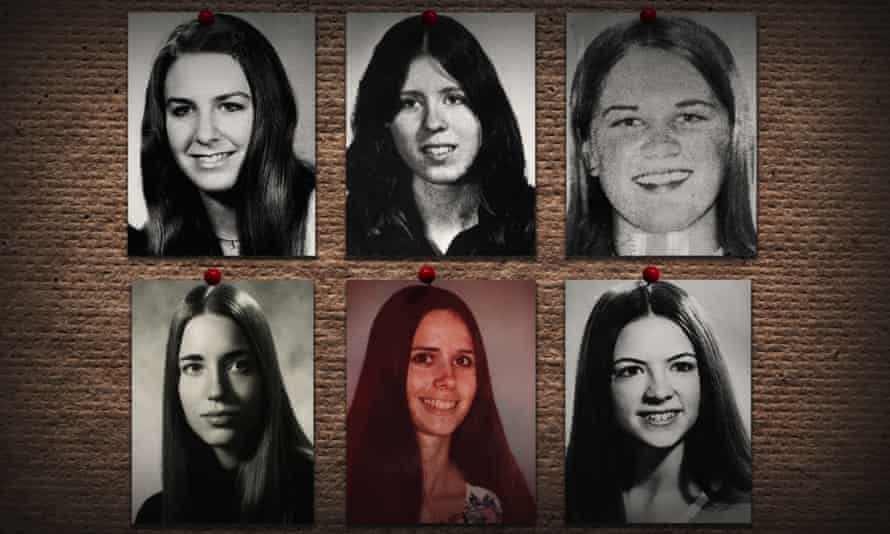 A still from Netflix's Conversations with a Killer The Ted Bundy Tapes, showing some of Bundy's victims.