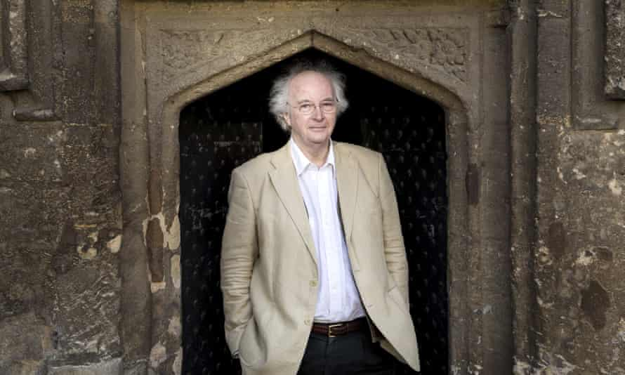 Philip Pullman outside Worcester College, in Oxford