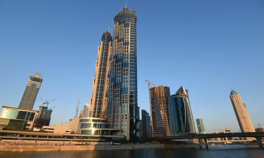 a general view of the new extension to Dubai Canal.