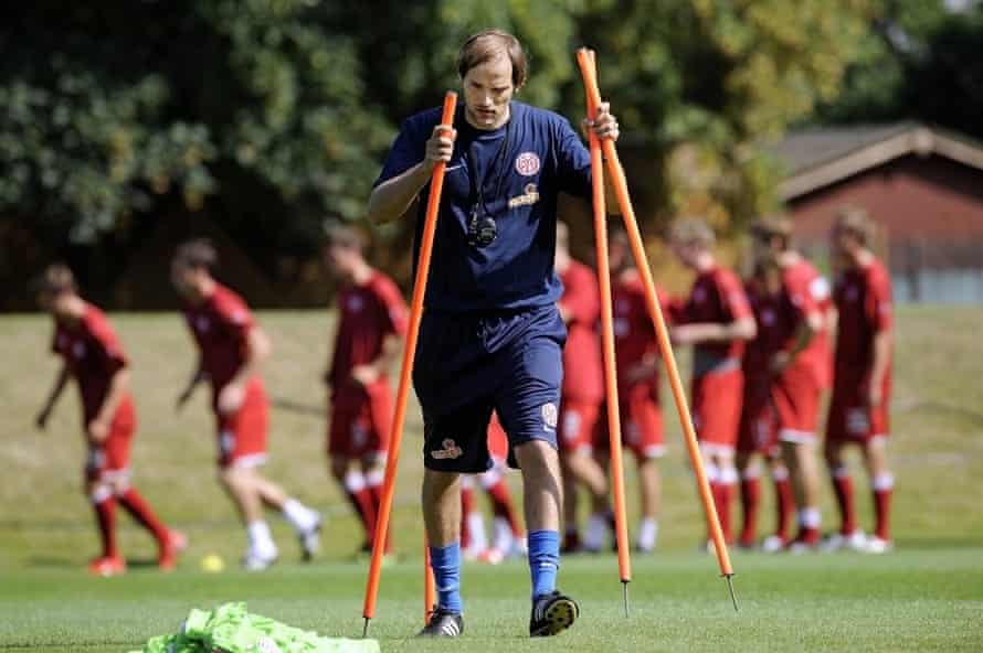 Tuchel looks focused during his first training session with his players at Mainz in August 2009.