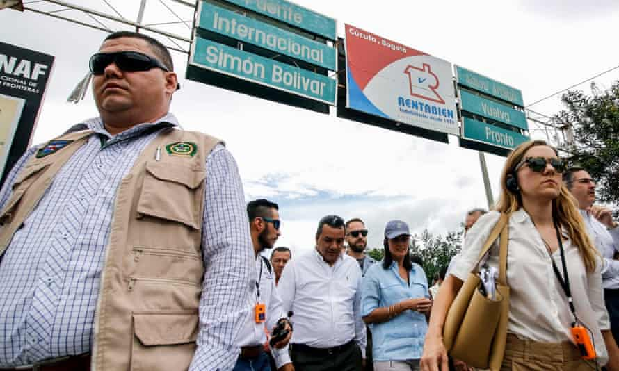 Nikki Haley at the Simon Bolivar bridge on the border between Colombia and Venezuela. Haley said Maduro had 'created this chaos'.