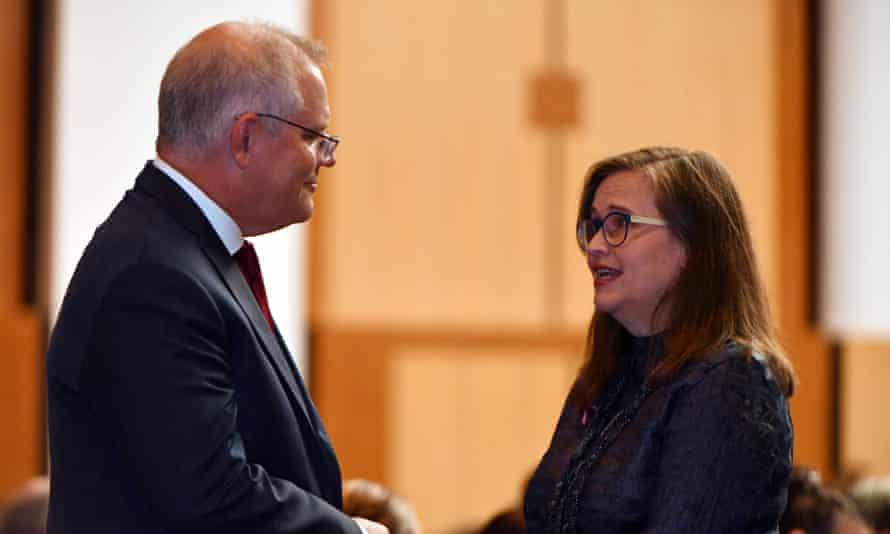 PM Scott Morrison and sex discrimination commissioner Kate Jenkins
