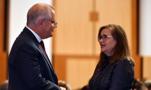 Prime minister Scott Morrison and sex discrimination commissioner Kate Jenkins