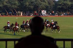 President Ram Nath Kovind watches a friendly polo match