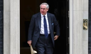Geoffrey Cox leaves Downing Street after this morning's cabinet.