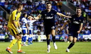 Tom Lawrence scored a speculative header in the 94th minute to complete the comeback win for Derby.