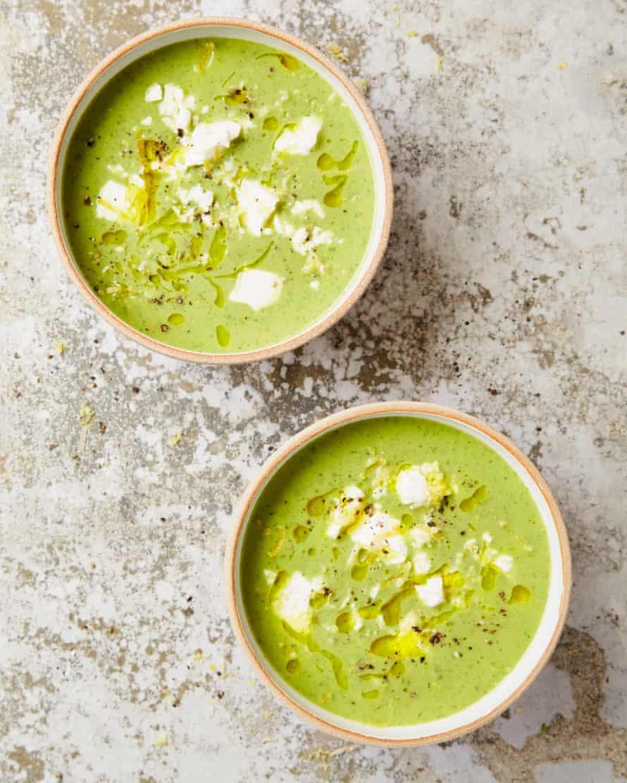 Yotam Ottolenghi's courgette, pea and basil soup