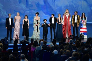 """LA, California: The cast of """"Game of Thrones"""" speak onstage during the 71st Emmy Awards"""