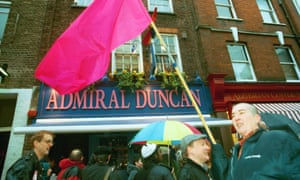 A vigil outside the Admiral Duncan pub on the one-year anniversary of the 1999 nail bombing.