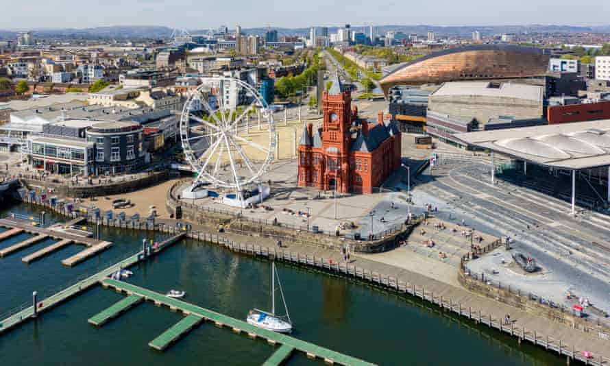 Aerial view of the landmarks of Cardiff Bay