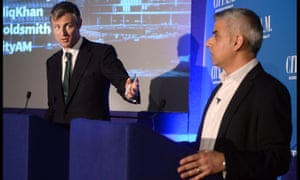 Zac Goldsmith and Sadiq Khan at the City AM hustings at the Institute of Directors.