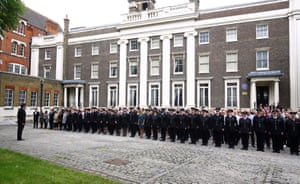 London fire brigade mark the anniversary with a minute's silence at their HQ in Southwark
