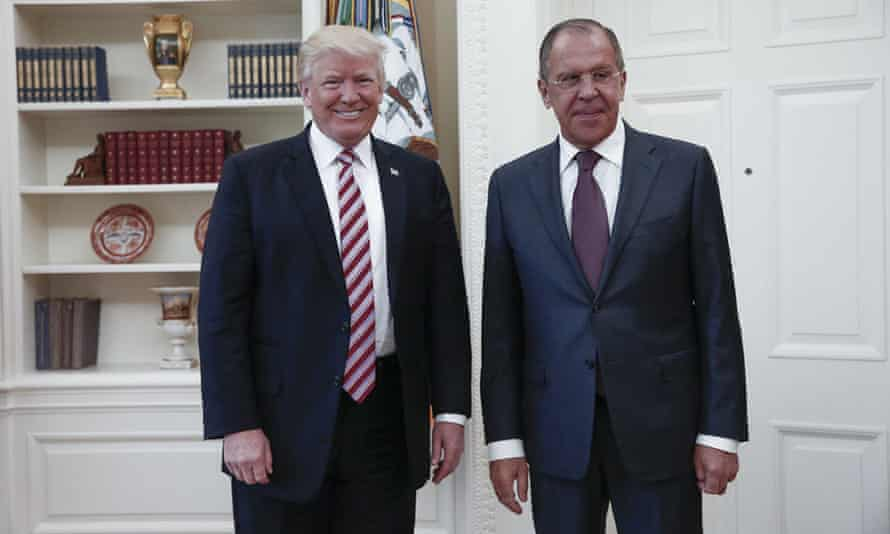 Donald Trump poses with Russian foreign minister Sergey Lavrov during their meeting at the White House on 10 May.