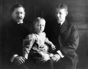 Laura Trevelyan's great-great-grandfather, Thomas Gray Bennett, left, with his grandson, baby Thomas Gray Bennett, and his son Winchester Bennett, c1900.