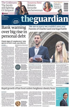 Guardian front page, 25 July 2017
