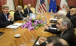 US secretary of state, John Kerry, at a table with Iranian officials in Lausanne.