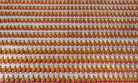 In the temple of the 10000 buddhas in Hong Kong.