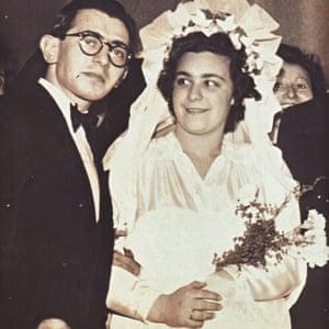 Miklós and Ágnes Gárdos on their wedding day in Sweden, 1946.