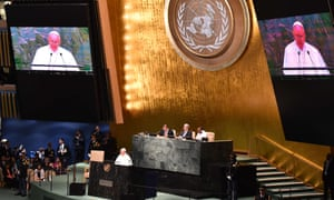 Pope Francis delivers his opening address to the UN general assembly.