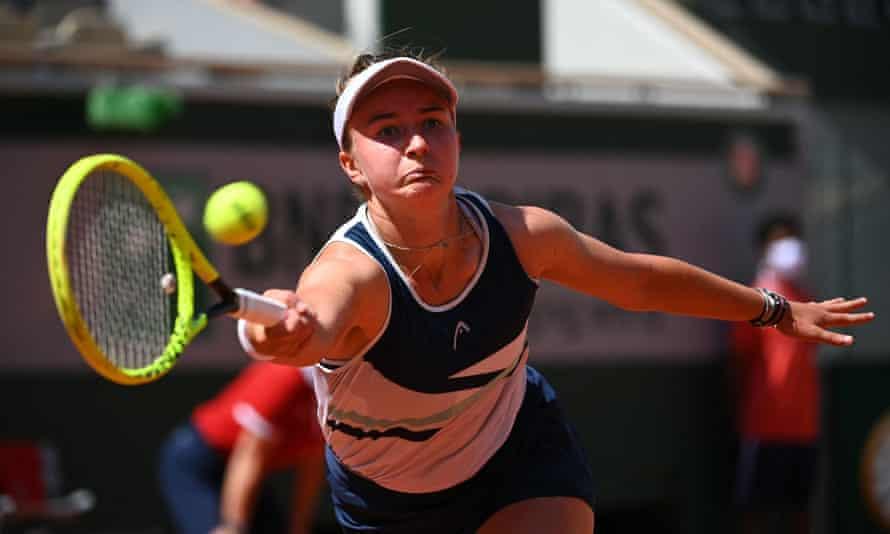 Barbora Krejcikova returns the ball to Coco Gauff during the Roland Garros quarter-finals