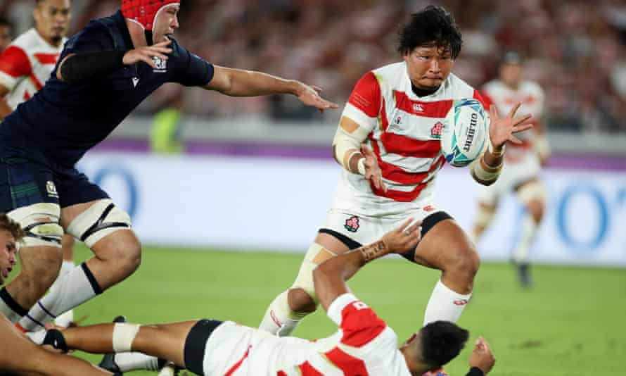Keita Inagaki collects a typically brilliant Japan offload to score his side's second try in their thrilling Rugby World Cup win against Scotland.