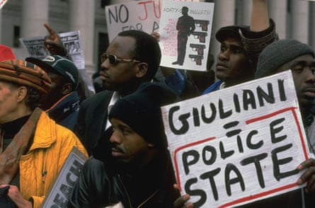 People protest the shooting of unarmed immigrant Amadou Diallo in 1999.