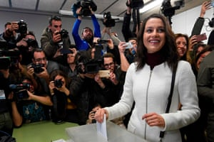 Inés Arrimadas, the leader of the centre-right Ciudadanos party in Catalonia, casts her ballot at a polling station in Barcelona