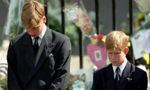 Princes William and Harry during their mother's funeral on 6 September 1997