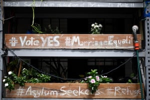 A message in support of a Yes vote in the marriage equality and asylum seekers in Sydney's inner west