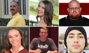 Victims of the shooting. Clockwise Chris Hixon, Jaime Guttenberg, Aaron Feis, Joaquin Olivier, Nicholas Dworet and Meadow Pollack.