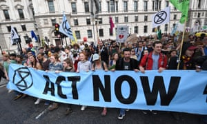 Extinction Rebellion climate change protesters demonstrating in Parliament Square in London on Tuesday