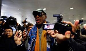 Dennis Rodman talks to media at Beijing international airport