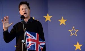 Nick Clegg with union jack and EU flag