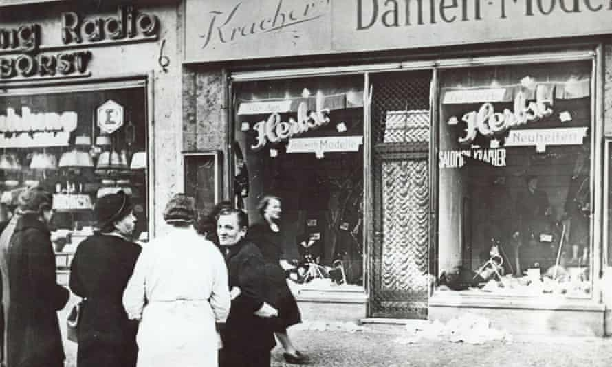 A vandalised Jewish-owned shop in an unnamed German town after the Kristallnacht riots in 1938